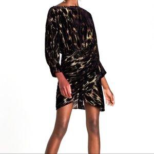 Zara Black Gold Velvet Burnout Metallic Dress